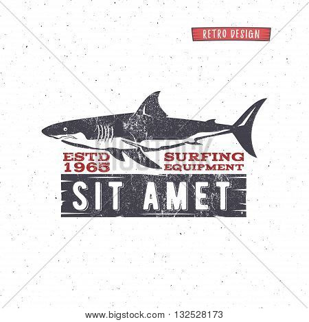 Vintage Surfing Store Badge design. Surf gear shop Emblem for web design or print. Retro shark logo design. Surf equipment Label. Surfer stamp. Summer insignia. Vector hipster surfboarding symbol.