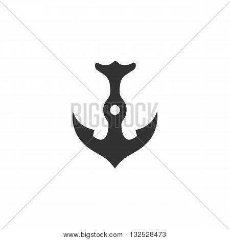 Anchor icon on white background. Anchor vector logo. Flat design style. Modern vector pictogram for web graphics. - stock vector