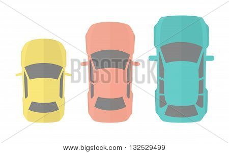 Cars Top View. Flat Design Vector Illustration Of Three Different Model Autos
