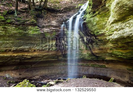 Tannery Falls in Munising Michigan is one of many waterfalls at Pictured Rocks National Lakeshore in the Upper Peninsula of Michigan