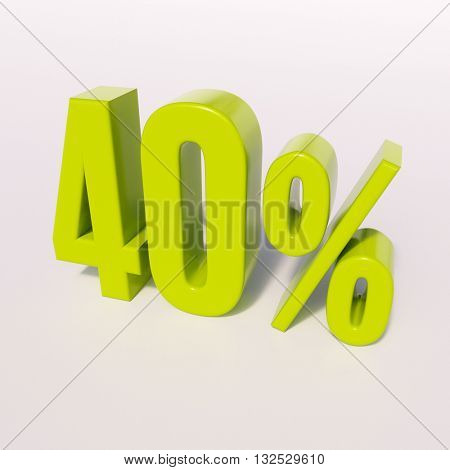 3d render: green 40 percent, percentage discount sign on white, 40%