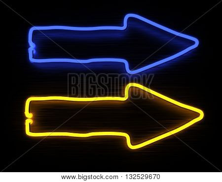 3d render arrows neon sign isolated on black background. 3D illustration