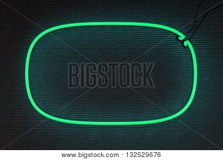 3d render green neon frame isolated on black brick wall background. 3D illustration