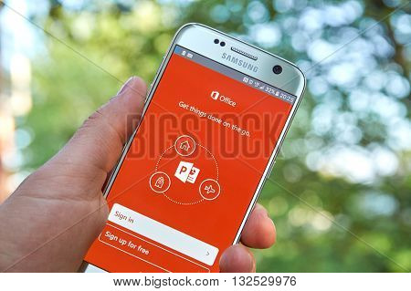 MONTREAL CANADA - MAY 23 2016 - Microsoft Office PowerPoint application on Samsung S7.