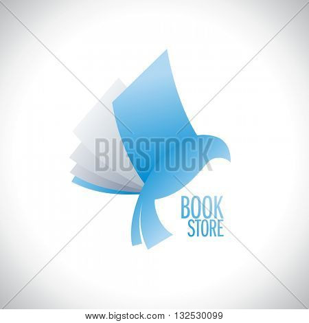 Book store logo with book flying like bird, education and entertainment concept