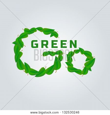 Go green concept. Green leafs, Go green words. Nature saving. Ecological banner concept.Motivational words. Evironment protection. Vector illustration