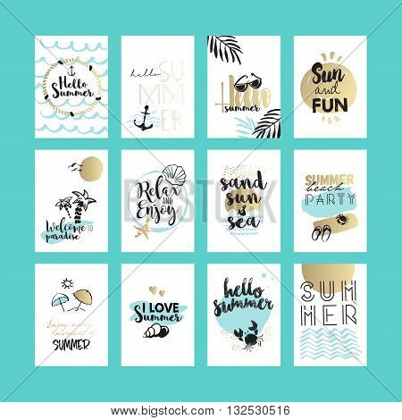 Summer cards and banners. Hand drawn vector illustrations for graphic and web design, for summer vacation, beach party, greeting cards, enjoying the sun and sea