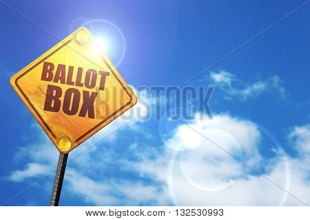 ballot box, 3D rendering, glowing yellow traffic sign