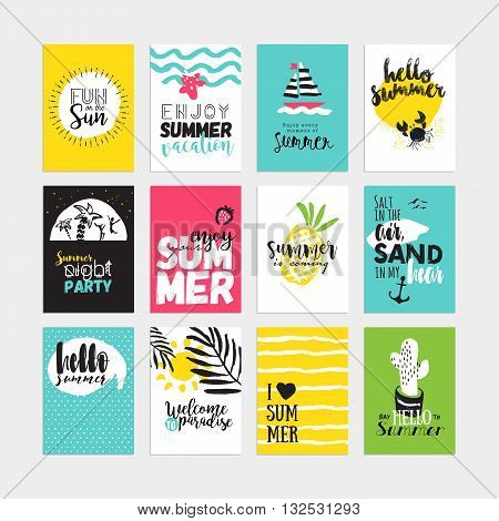 Set of hand drawn watercolor summer cards and banners. Vector illustrations for graphic and web design, for summer vacation, beach party, greeting cards, enjoying the sun and sea