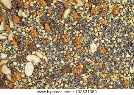 Close view of dry breakfast cereal consisting of chia seeds nuts and dried fruit.