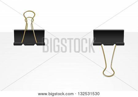 Set of two black binder clips on a white paper sheet. Vector EPS10 illustration.