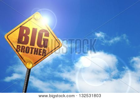 big brother, 3D rendering, glowing yellow traffic sign