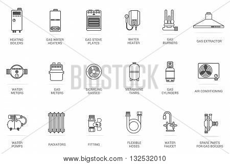 Vector linear icon gas equipment for the kitchen bathroom and heating. Brochures advertisements manuals technical descriptions. Isolated on a white background.
