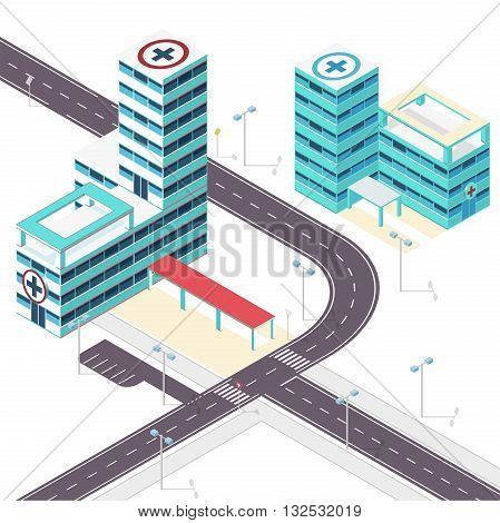 Medical isometric building. Hospital building with street. Isometric building. Illustration of scientific article. Nice presentation of hospital. Pharmacy Clinic pictogram. Isolated master vector.