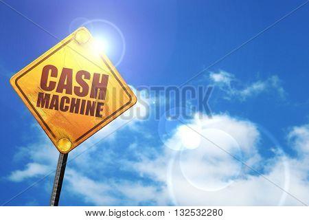 cash machine, 3D rendering, glowing yellow traffic sign