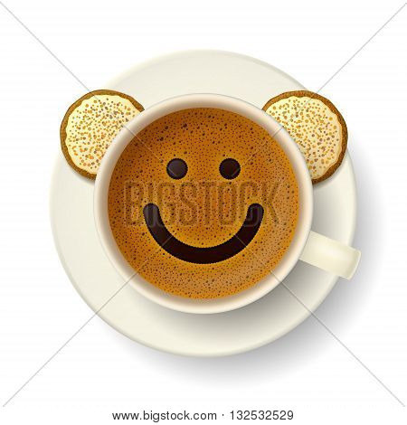 Coffee cup with froth in the form of smiling face. Cookies on saucer. Good mood and vivacity for active day