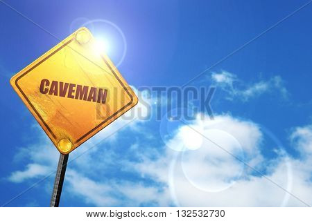 caveman, 3D rendering, glowing yellow traffic sign