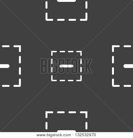 The Minus In A Square Icon Sign. Seamless Pattern On A Gray Background. Vector
