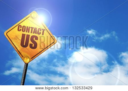 contact us, 3D rendering, glowing yellow traffic sign