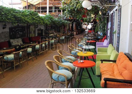 FETHIYE - TURKEY - 27TH MAY 2016: A Bistro along the small streets of Fethiye in Turkey, 27th may 2016