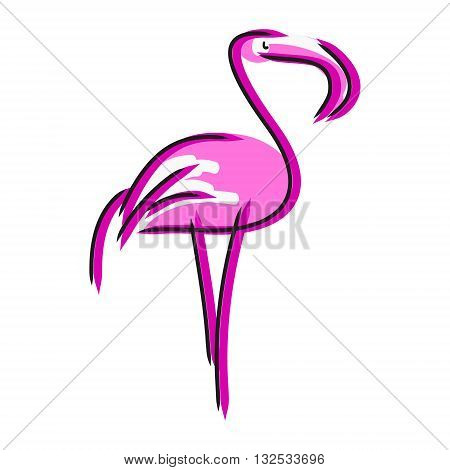 Image of pink flamingos on a white background. The pattern of colored lines in the form of birds vector illustration