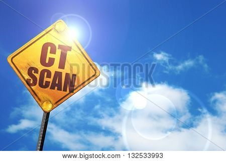 ct scan, 3D rendering, glowing yellow traffic sign