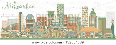 Abstract Milwaukee Skyline with Color Buildings. Business Travel and Tourism Concept with Modern Buildings. Image for Presentation Banner Placard and Web Site.
