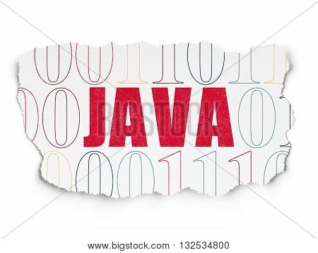 Database concept: Painted red text Java on Torn Paper background with  Binary Code