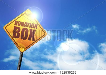 donation box, 3D rendering, glowing yellow traffic sign