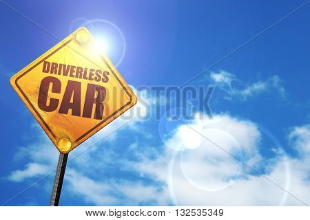 driverless car, 3D rendering, glowing yellow traffic sign