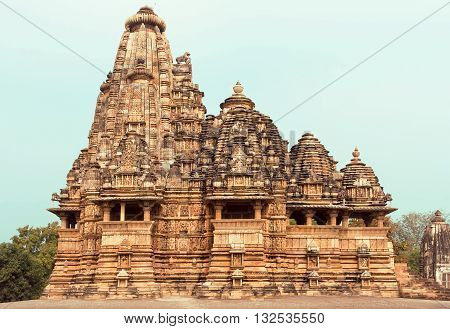 Kandariya Mahadeva Temple structure of the complex of Khajuraho Group of Monuments. UNESCO Heritage site built between 950 and 1150 in India