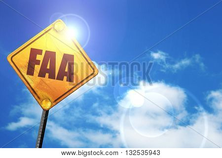 faa, 3D rendering, glowing yellow traffic sign