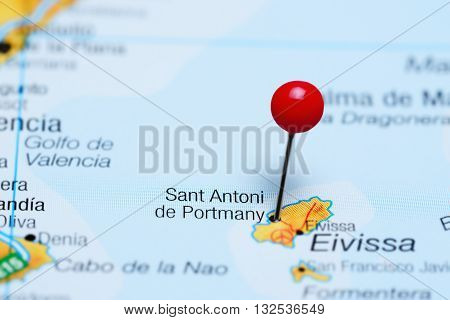 Sant Antoni de Portmany pinned on a map of Spain