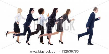 Gender Equality Concept - Business Women Running For Business Man Isolated On White