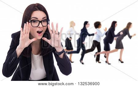 angry boss shouting and running workers isolated on white background