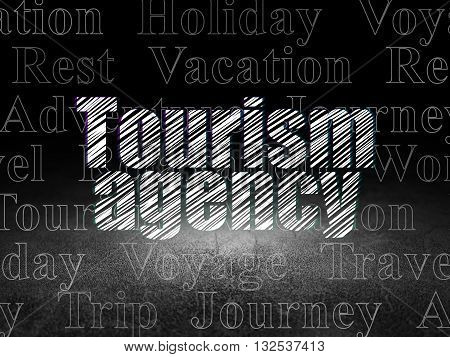 Vacation concept: Glowing text Tourism Agency in grunge dark room with Dirty Floor, black background with  Tag Cloud