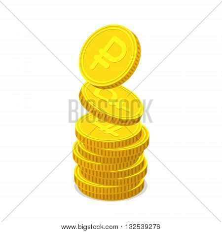 Stack from gold coins with Russian ruble sign. Coins is falling from the top so stack is increasing. Income concept