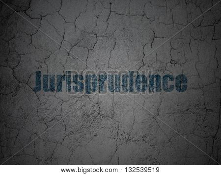 Law concept: Blue Jurisprudence on grunge textured concrete wall background