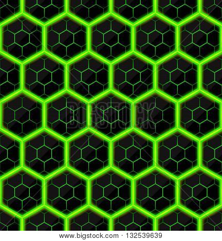 Hexagons of black stone with green hot streaks of energy. Seamless vector texture. Technology seamless pattern. Vector geometric background.
