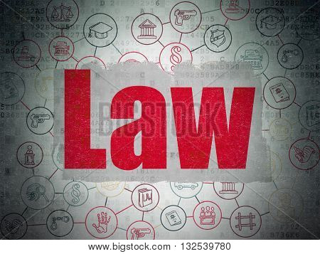 Law concept: Painted red text Law on Digital Data Paper background with  Scheme Of Hand Drawn Law Icons