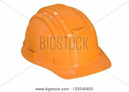 Construction Orange Hard Hat 3D rendering isolated on white background
