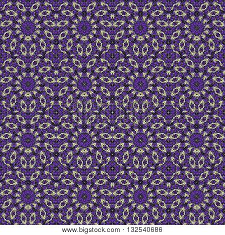 Stylized Floral Check Seamless Pattern