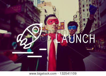 Launch Startup Business Success Release Concept