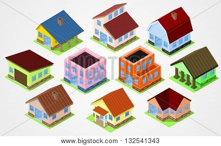 Set Isometric houses. Town house cottages and garrages
