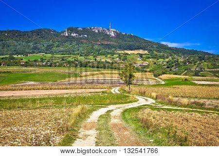 Idyllic landscape of Kalnik mountain region of Prigorje Croatia