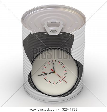 Watch in a tin. Mechanical clock inside a tin can on a white surface. Untouchable reserve of time. Isolated. 3D Illustration