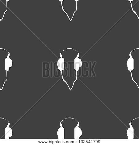 Headphones Icon Sign. Seamless Pattern On A Gray Background. Vector