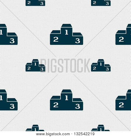 Podium Icon Sign. Seamless Pattern With Geometric Texture. Vector