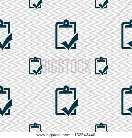 Document Grammar Control, Test, Work Complete Icon Sign. Seamless Pattern With Geometric Texture. Ve