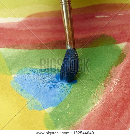 Paints and childish painting equipment, Watercolors and brushes, Colorful water paint, water color paints